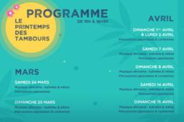 Programme Le Printemps des Tambours